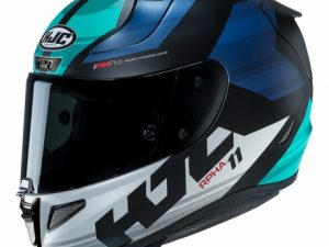 Casco integral Naxos de HJC, de color blanco y tres azules distintos